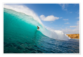 Premiumposter Surfer riding a perfect wave
