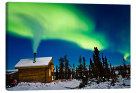 Canvastavla  Northern Lights over a hut - Kevin Smith