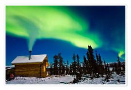 Premiumposter  Northern Lights over a hut - Kevin Smith