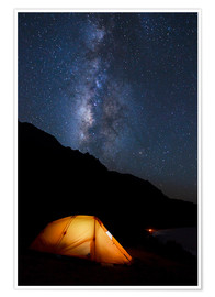 Premiumposter Tent and starry sky