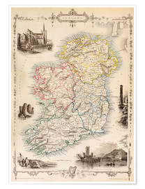 Poster  Map Of Ireland by Thomas Wright - Ken Welsh