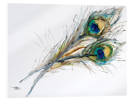 Akrylglastavla  Two peacock feathers - Tara Thelen
