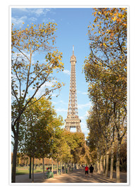 Premiumposter Eiffel tower in autumn, Paris, France