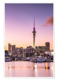 Premiumposter  Skyline of Auckland city and harbour at sunrise, New Zealand - Matteo Colombo