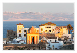Premiumposter  Strait of Gibraltar and town of Tarifa at sunset, Andalusia, Spain - Matteo Colombo