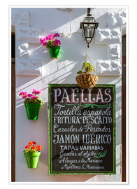 Premiumposter  Typical whitewashed ornate wall and paella sign, Andalusia Spain - Matteo Colombo