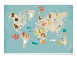 Poster  For the Nursery: world map of animals - Petit Griffin