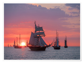 Premiumposter  Sailing ships on the Baltic Sea in the evening - Rico Ködder