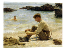 Akrylglastavla  Lawrence as a cadet at Newporth beach - Henry Scott Tuke