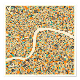 Poster  London map colorful - Jazzberry Blue