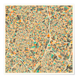 Premiumposter  Madrid map - Jazzberry Blue