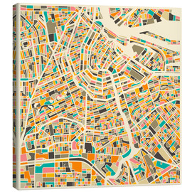Canvastavla  Amsterdam map colorful - Jazzberry Blue