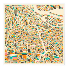 Premiumposter  Amsterdam map colorful - Jazzberry Blue