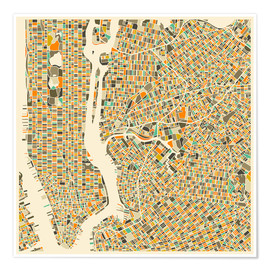 Premiumposter  New York map colorful - Jazzberry Blue