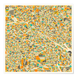 Premiumposter  Berlin map colorful - Jazzberry Blue