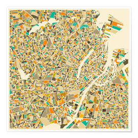 Premiumposter  Copenhagen Map - Jazzberry Blue