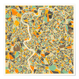 Premiumposter  Rome Map - Jazzberry Blue