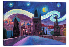 Canvastavla  Starry Night in Prague   Van Gogh Inspirations on Charles Bridge in Czech Republic - M. Bleichner