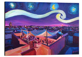 Aluminiumtavla  Starry Night in Marrakech   Van Gogh Inspirations on Fna Market Place in Morocco - M. Bleichner