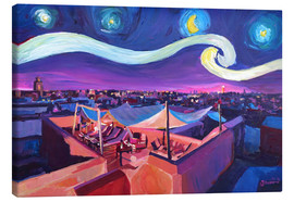 Canvastavla  Starry Night in Marrakech   Van Gogh Inspirations on Fna Market Place in Morocco - M. Bleichner