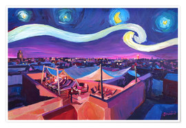 Premiumposter  Starry Night in Marrakech   Van Gogh Inspirations on Fna Market Place in Morocco - M. Bleichner