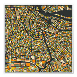 Premiumposter  Amsterdam Map - Jazzberry Blue