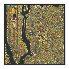 Premiumposter  New York Map - Jazzberry Blue