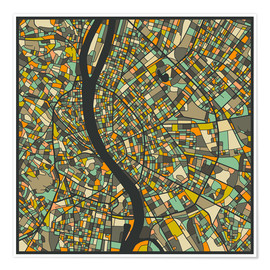 Premiumposter  Budapest Map - Jazzberry Blue