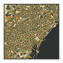Premiumposter  Barcelona Map - Jazzberry Blue