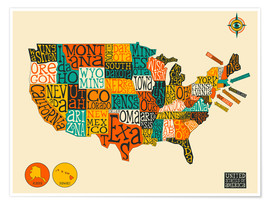 Premiumposter  UNITED STATES Map - Jazzberry Blue