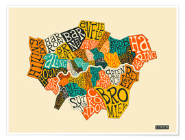 Premiumposter  London Boroughs - Jazzberry Blue