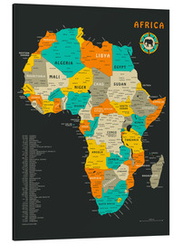 Aluminiumtavla  Africa Map - Jazzberry Blue