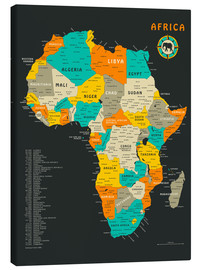 Canvastavla  Africa Map - Jazzberry Blue