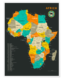 Premiumposter  Africa Map - Jazzberry Blue