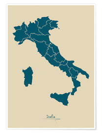 Premium poster  Modern map of Italy Artwork Design - Ingo Menhard