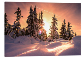Akrylglastavla  Sunset in the Snow - Matthias Köstler
