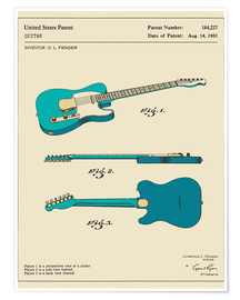 Poster  Guitar Patent (1951, English) - Jazzberry Blue