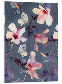 Akrylglastavla  Butterflies and Hibiscus Flowers - a painted pattern - Micklyn Le Feuvre