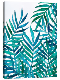 Canvastavla  Watercolor Palm Leaves on White - Micklyn Le Feuvre