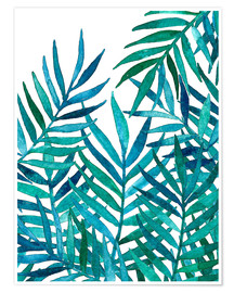 Premiumposter Turquoise palm leaves on white