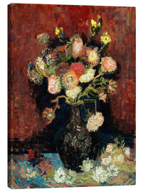 Canvastavla  Vase with Chinese Asters and Gladioli - Vincent van Gogh