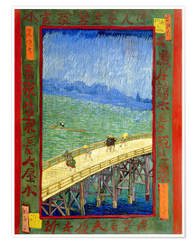 Premiumposter Bridge in the rain, after Hiroshige