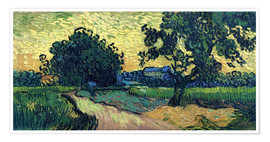 Premiumposter Field with Trees, the Chateau of Auvers