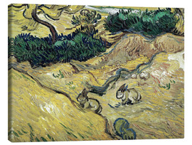 Canvastavla  Field with Two Rabbits - Vincent van Gogh