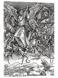 Akrylglastavla  Michael Slaying the Dragon - Albrecht Dürer