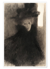 Premiumposter Portrait of a Lady with Cape and Hat