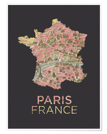 Premiumposter  Paris France Map Silhouette - Amelia Gier