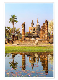 Premiumposter  Wat Mahathat buddhist temple reflected in pond, Sukhothai, Thailand - Matteo Colombo