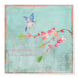 Premiumposter Bird chirping waether Spring and cherryblossoms