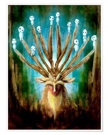 Premiumposter  The Deer God of Life and Death - Barrett Biggers